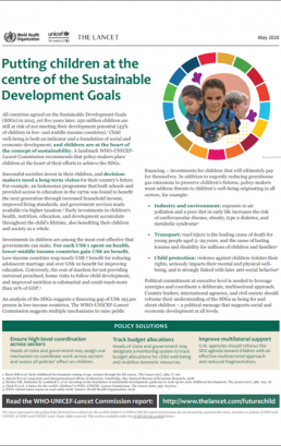 Putting children at the centre of the Sustainable Development Goals