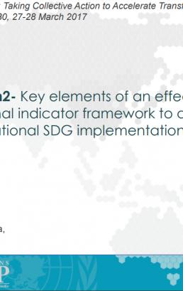 Key elements of an effective national indicator framework to drive national SDG implementation