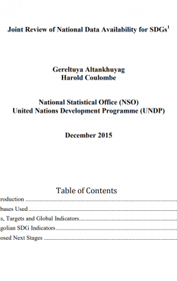 SDG related report/publication in Mongolia